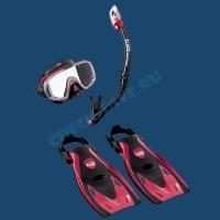 Набор маска трубка ласты Tusa Sport Black Series  2