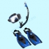 Набор маска трубка ласты Tusa Sport Black Series